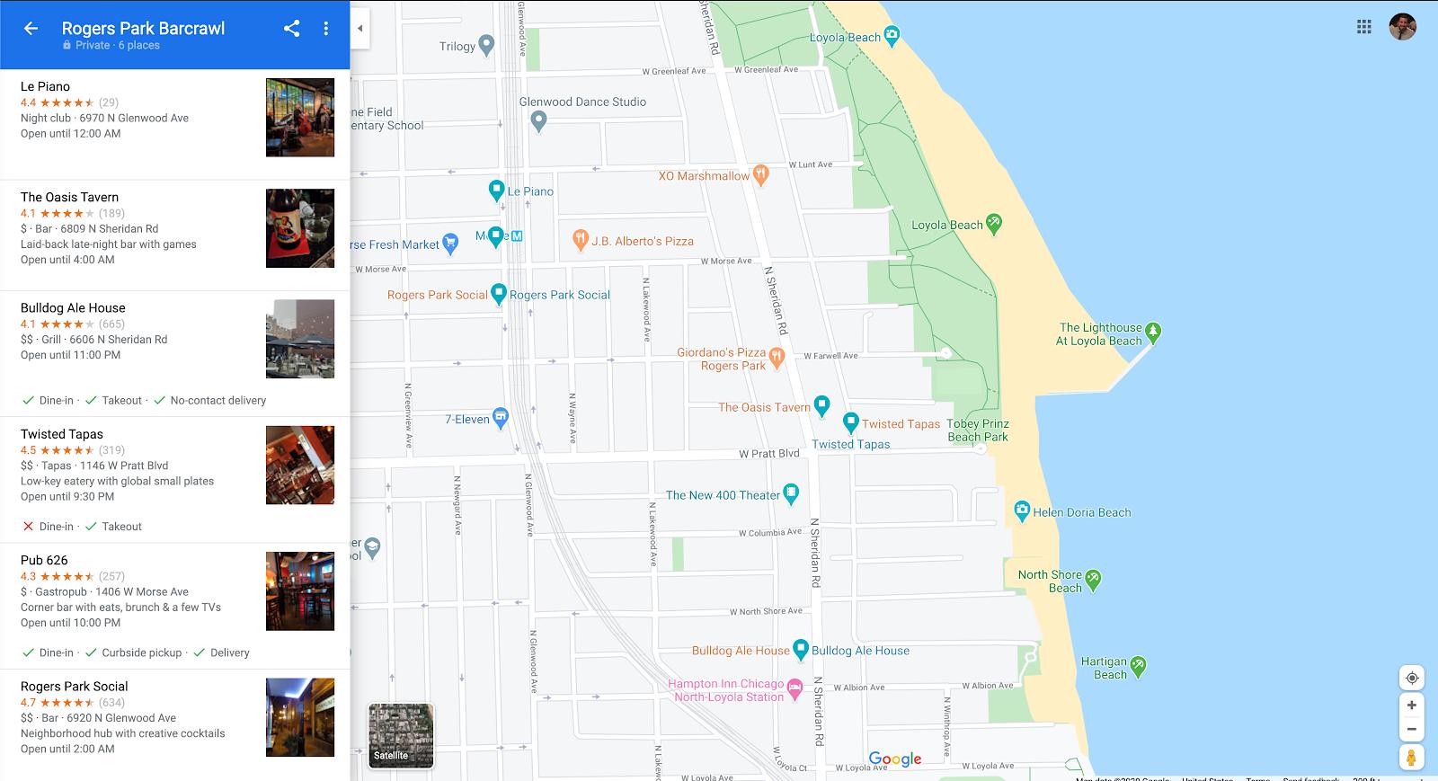 Screenshot of Google Map's list feature