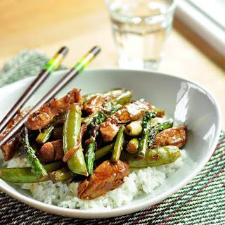 Pork Stir-Fry with Asparagus and Sugar Snap Peas.