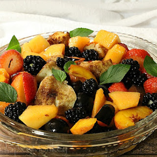 Summer Fruit Panzanella with Sweetened Wine Reduction