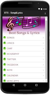 BTS Şarkı Sözleri Ekran Görüntüsü