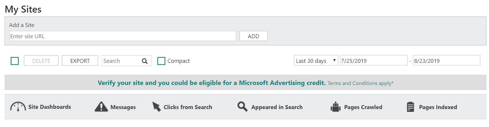 Screenshot of the Bing Webmaster Tools login screen.