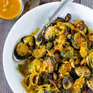 Roasted Brussel Sprouts with Coconut Curry Sauce.