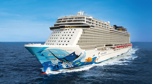 Norwegian-Escape-hull - Norwegian Escape, largest ship in the Norwegian fleet, launched one year ago. Her hull features 12 marine species native to the Caribbean.