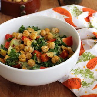 Crave-worthy Kale Salad & Roasted Chickpeas