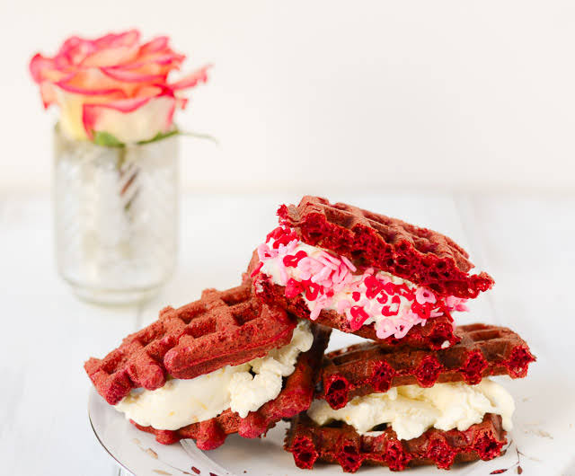 Red Velvet Waffle and Cream Cheese Ice Cream Sandwiches