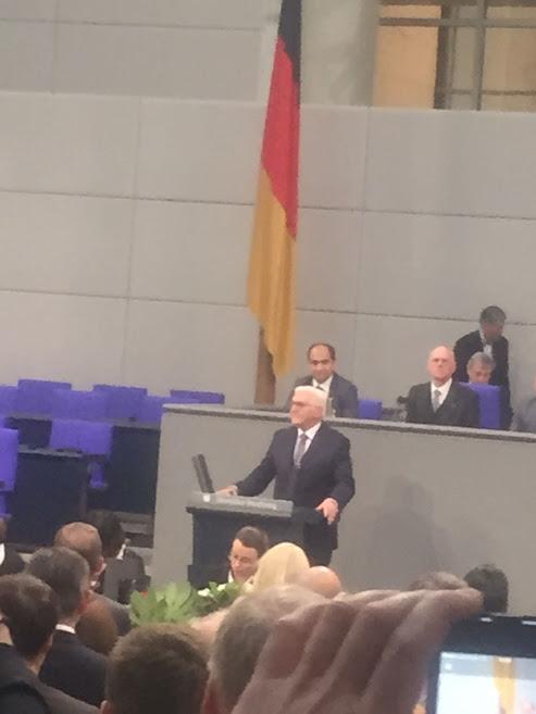 Frank Walter Steinmeier bei seiner Antrittsrede (Bild M.S.)