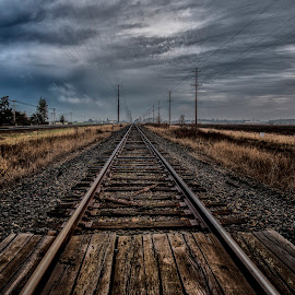 by Ross Bloom - Transportation Railway Tracks ( leading lines, railroad, hdr, vanishing lines, landscape )