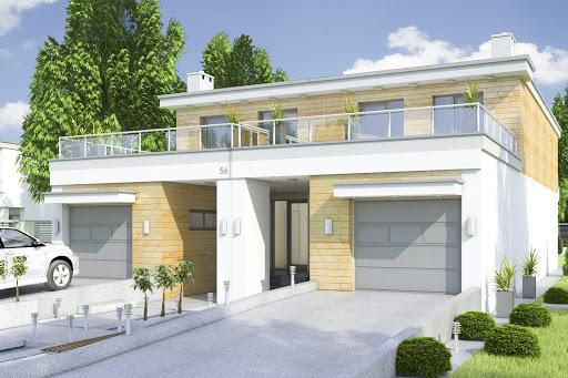 projekt Long II z garażem 1-st. bliźniak A-BL2