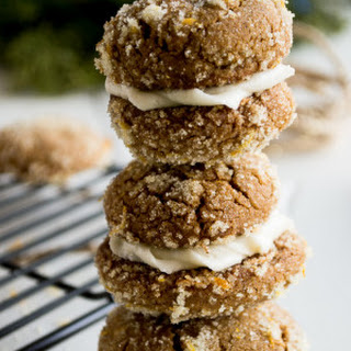 Soft Molasses Cookies with Orange Sugar and Ginger Cream Cheese Frosting