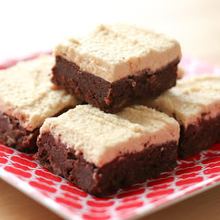 Rich Chocolate Brownies with Peanut Butter Frosting {traditional and gluten free recipes}.