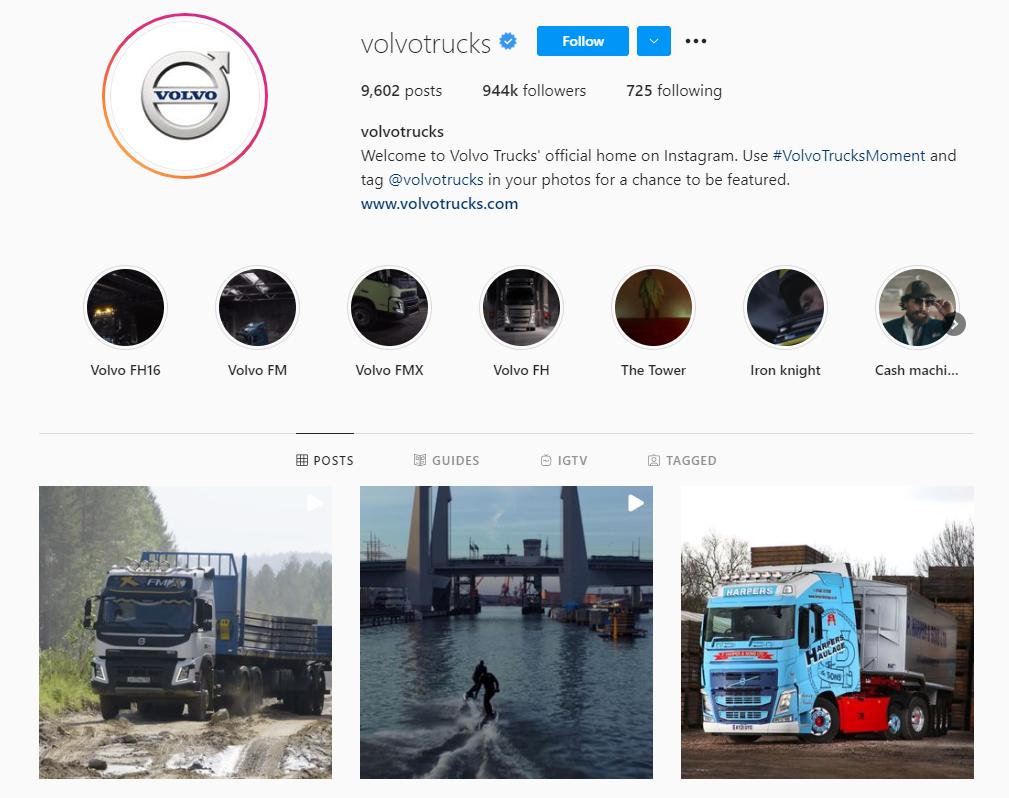 Volvo Trucks Instagram profile