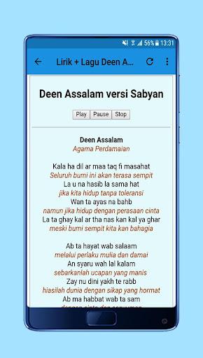 Sholawat Deen Assalam Nissa Sabyan + Lirik 1.0 screenshots 3