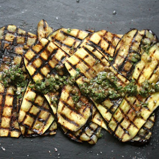 Grilled Eggplant with Sumac, Capers, and Mint.