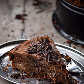 Cheesecake Topped Devil's Food Chocolate Cake.