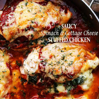 Saucy Spinach and Cottage Cheese Stuffed Chicken.