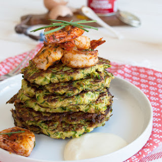 Curried Zucchini Fritters With Spicy Shrimp.