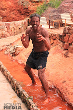 Photo: Hitting the mudbath at the hot springs after ziplining.
