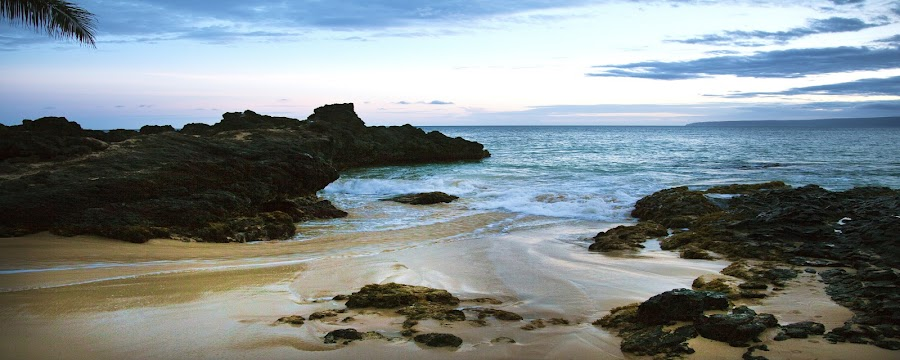 Maui eve by Christie Lynn - Landscapes Waterscapes ( muai, nature, sunset, rock, beach )