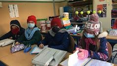 Alumnos almerienses en clase durante el temporal.
