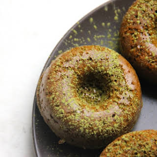 Baked Spelt Flour and Matcha Donuts.