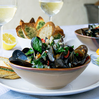 Spicy Mussels with Cherry Peppers.
