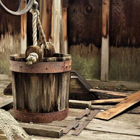 Water bucket by Priscilla Renda McDaniel - Artistic Objects Antiques ( rope, bucket, well, rust, boards,  )