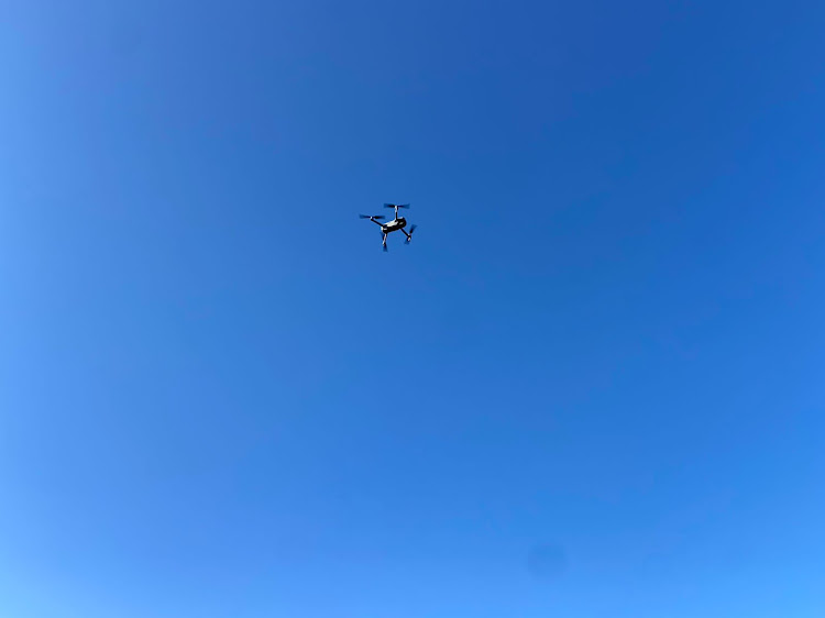 One of the drones that flew in the helicopter flight path.