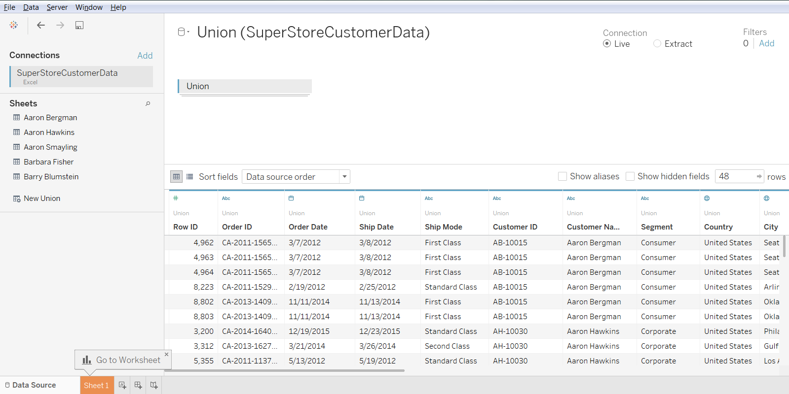 Use Case for Tableau Union 35