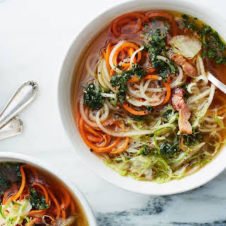 Root Vegetable Zoodle Soup With Bacon and Basil Oil recipe | Epicurious.com.
