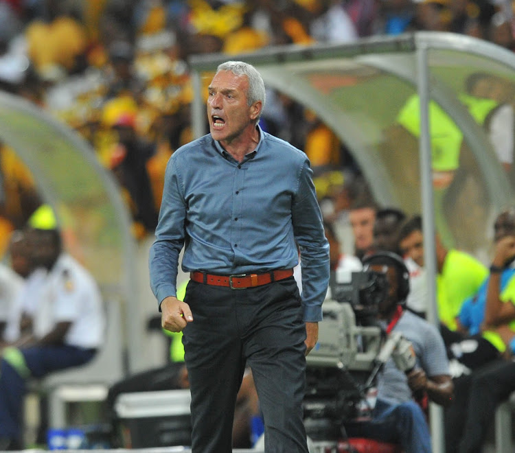 Kaizer Chiefs head coach Ernst Middendorp cuts a frustrated figure on the touchline.