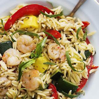 Shrimp & Veggie Orzo with Pesto Vinaigrette.