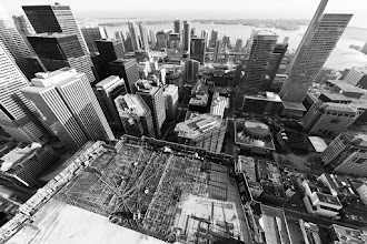 Photo: From the proper vantage points and with the right angles, the city is nothing but an endless number of concrete sprouts.  Tags: #toronto, #torontoskyline, #skyscrapers, #rooftopping, #construction,
