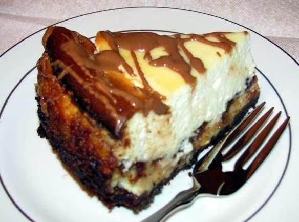 Peanut Butter & Chocolate Chip Layered Cheesecake