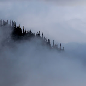 Shroud by John  Pemberton - Landscapes Mountains & Hills ( clouds, mountain, diagonal, veil, misty,  )