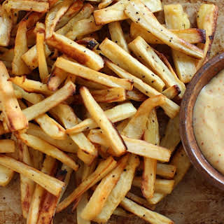 Roasted Parsnip Fries with Spicy Orange Mayonnaise.