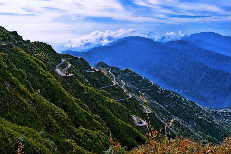 Silk Route by Chandradwip Debnath - Landscapes Mountains & Hills ( hills, blue sky, green, street, landscape photography, india, sikkim, china,  )