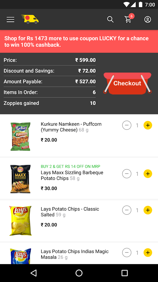 Screenshots of ZopNow - Grocery Shopping for iPhone