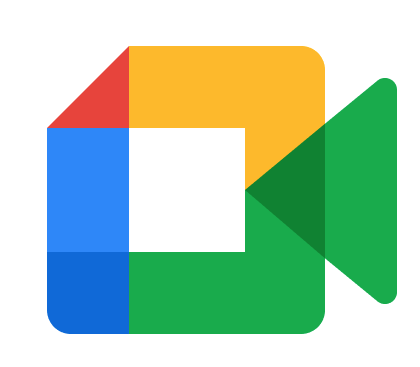 Google Meet Logo with red, blue, green and yellow lines forming a square with a green triangle to mimic a camera.