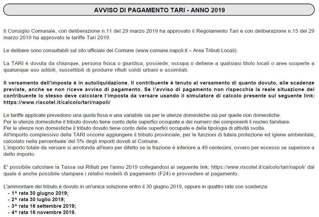 Avviso di pagamento Tari 2019