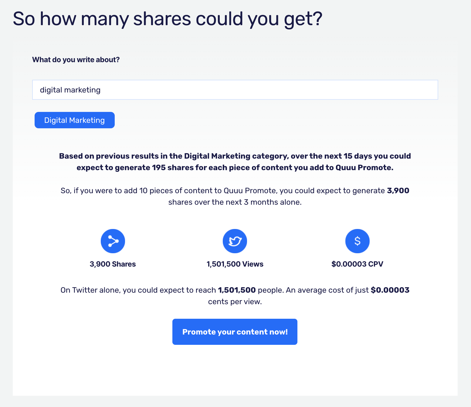 A screenshot of the Quuu Promote shares calculator for 'digital marketing'