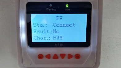 Photo: [Device replaced with a Victron unit now] MT50 Remote Meter showing the PV fault status screen