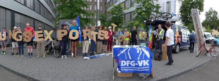 Friedensaktion vor Rheinmetall: «Rüstungsexporte stoppen!»