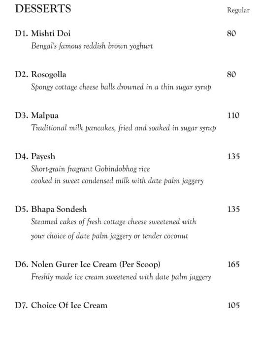 Oh! Calcutta menu 8
