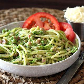 English Pea Pesto Pasta with Ham Recipe