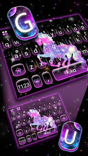 night galaxy unicorn keyboard theme screenshot 2