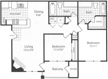 Go to B1 - Two Bed, Two Bath Floorplan page.