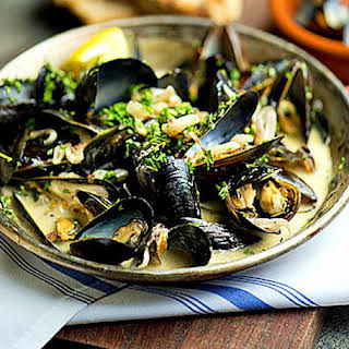 Steamed Mussels in Thai Basil-Coconut Sauce.