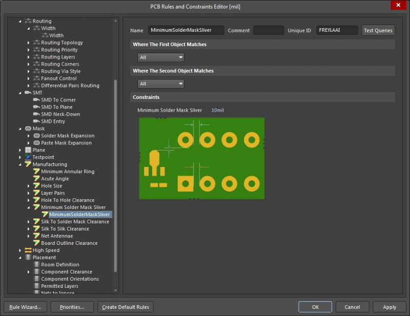 Screenshot showing the PCB Rules and Constraints editor in Altium Designer