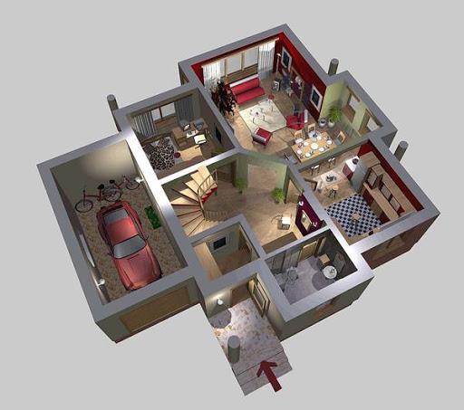 APS 010 - Rzut parteru 3D