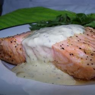Grilled Salmon Fillets with a Lemon, Tarragon, and Garlic Sauce.
